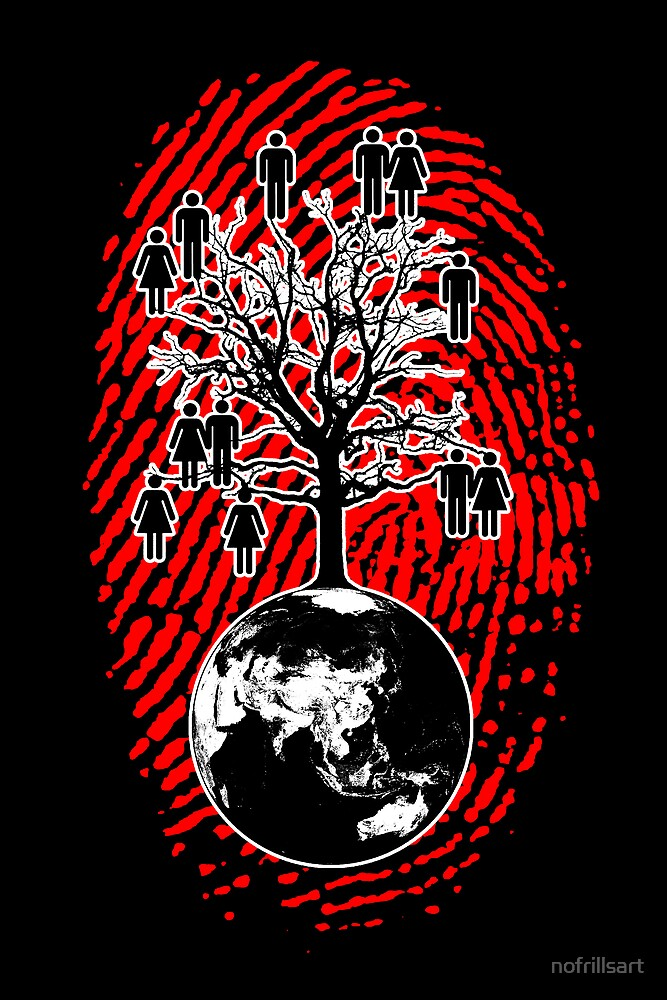 Family Tree - We are one human family. (Wall Art) by nofrillsart