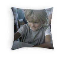 The face of concentration and enjoyment of art Throw Pillow