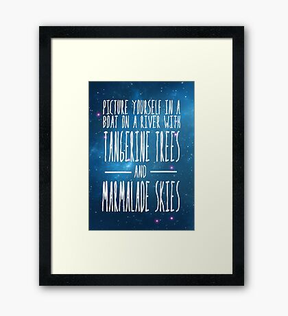 The Beatles -  Lucy in the Sky With Diamonds - Lyric Poster Framed Print