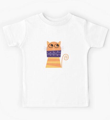 Funky Cat Design Kids Tee