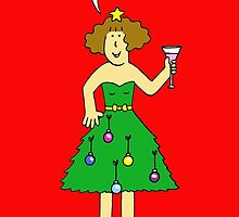 Happy Holidays lady in tree dress. by KateTaylor