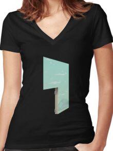 Glitch Homes Wallpaper uralia left divide Women's Fitted V-Neck T-Shirt