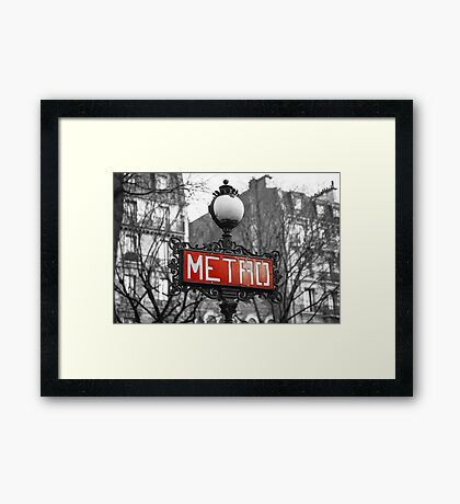 Paris Metro (Red) - Photograph by Anthony Symes Framed Print