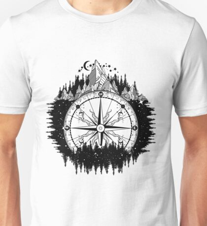 Mountain and compass Unisex T-Shirt