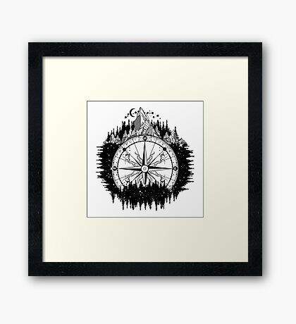 Mountain and compass Framed Print