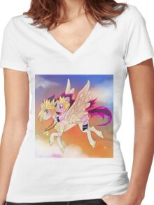 Yu-Gi-Oh!+My little pony sunset Women's Fitted V-Neck T-Shirt