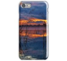 Orange with blue, and reed reflections iPhone Case/Skin