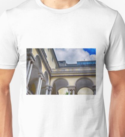 Arched building with columns in Genova, Italy Unisex T-Shirt