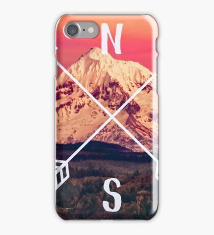 Compass Mountains and Forest Map - Mt Hood Snow Mountain and Trees iPhone Case/Skin