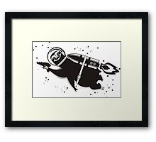 Outer space sloth rocket ray gun Framed Print