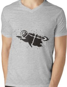 Outer space sloth rocket ray gun Mens V-Neck T-Shirt