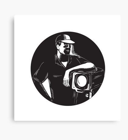 Film Crew Lighting Fresnel Spotlight Circle Woodcut Canvas Print