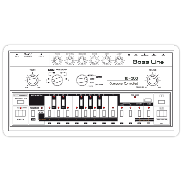Tb-303 Bass-Line Tribute by Plastica Tees