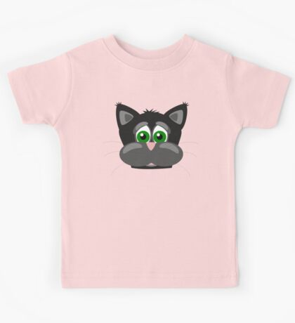 Cool Funny Cartoon Cat - Silly Black Kitten With Green Eyes T Shirts And Gifts Kids Tee
