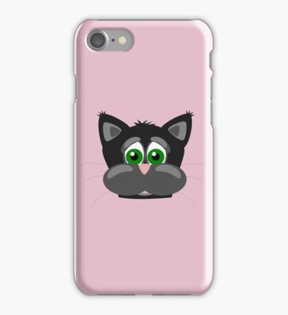 Cool Funny Cartoon Cat - Silly Black Kitten With Green Eyes T Shirts And Gifts iPhone Case/Skin