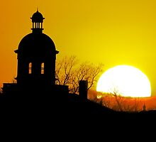 Sunset at the old St Charles Mo Court House Cupolla by WayneSheridan