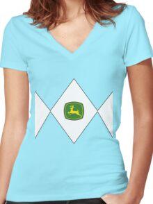 Mighty Morphin Power Rangers John Deere Women's Fitted V-Neck T-Shirt