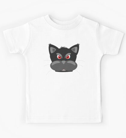 Cool Angry Crazy Mad Red Eyes Cat Cartoon Drawing T Shirts And Gifts Kids Tee