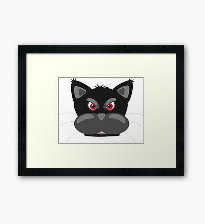 Cool Angry Crazy Mad Red Eyes Cat Cartoon Drawing T Shirts And Gifts Framed Print