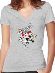 Alice In Wonderland White Rabbit - Cool Funny Weird Poker Suite Cartoon Drawing Women's Fitted V-Neck T-Shirt
