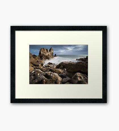 Rocky beach of Corona Del Mar, CA Framed Print