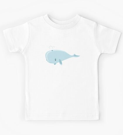Cute Blue Cartoon Ocean Whale - Cool Sea Animals Drawings T Shirts And Gifts Kids Tee