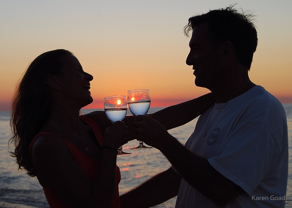 Laughter and Romance at Sunset by Karen Goad