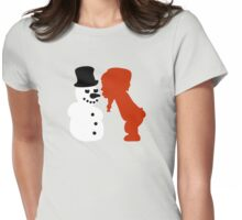 girl kisses snowman Womens Fitted T-Shirt