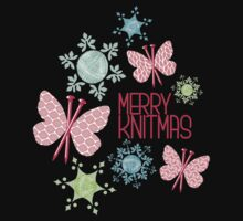 Merry Knitmas butterfly knitting needles yarn snowflakes Kids Clothes