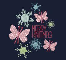 Merry Knitmas butterfly knitting needles yarn snowflakes Kids Tee