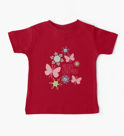 Merry Knitmas butterfly knitting needles yarn snowflakes Baby Tee