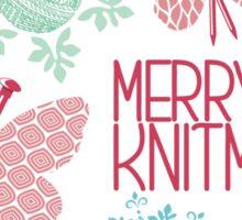 Merry Knitmas butterfly knitting needles yarn snowflakes Sticker