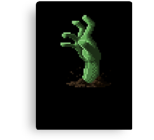 Zombie Grasp Pixels Canvas Print