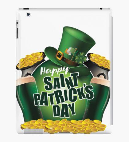 Saint Patrick's Day festive beer, pot of gold and leprechaun hat design iPad Case/Skin