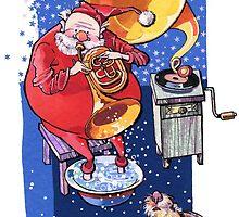 Santa with his little dog. Christmas Season. by Kimazo