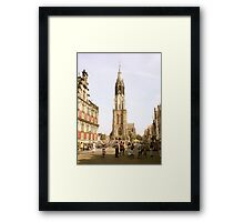 """Old Town Square, Delft and the """"New Church"""" Framed Print"""