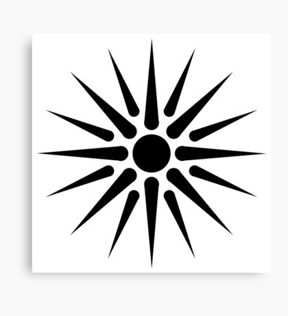 Black Vergina Sun Canvas Print