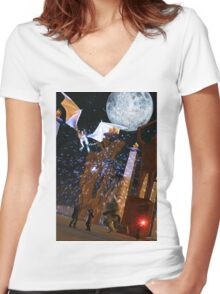 Dragon Attack Women's Fitted V-Neck T-Shirt