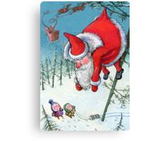 Santa haning on the tree. Christmas Card and more. Canvas Print