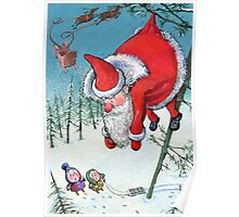 Santa haning on the tree. Christmas Card and more. Poster