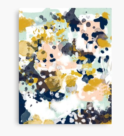 Sloane - Abstract painting in free style navy, mint, gold, white, and turquoise  Canvas Print