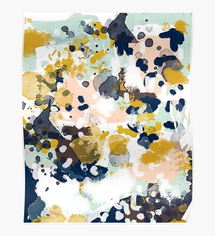 Sloane - Abstract painting in free style navy, mint, gold, white, and turquoise  Poster