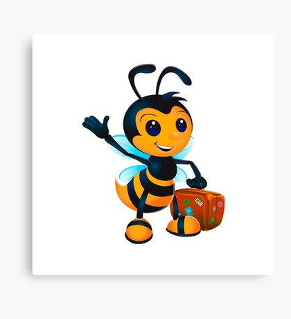 Cute cartoon bee with suitcase Canvas Print