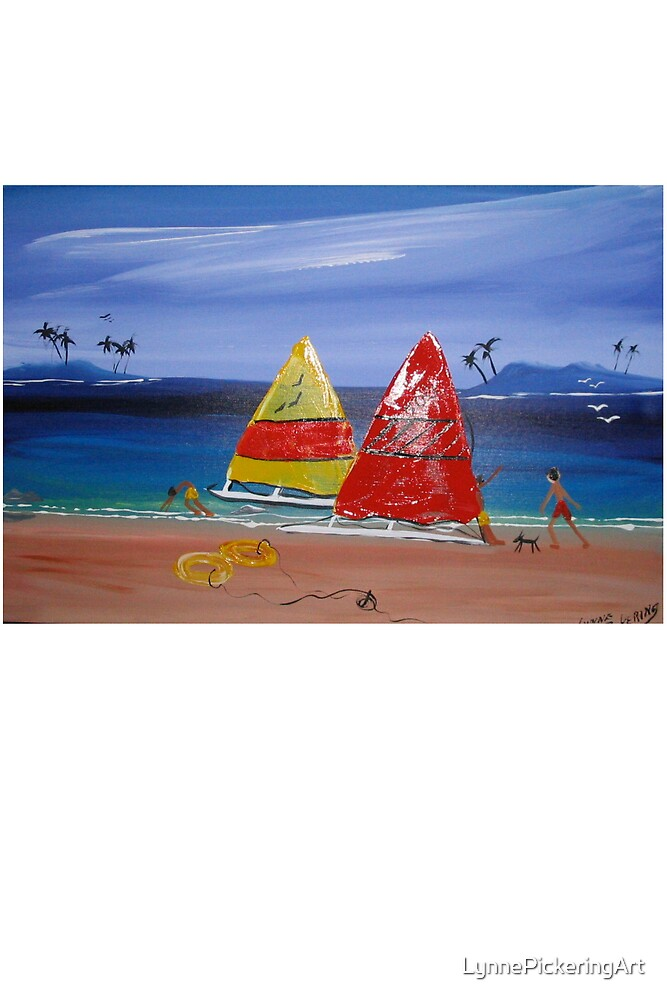 FUNKY BEACH  SUNDAY SAILING by LynnePickeringArt
