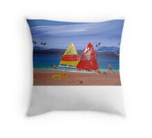 FUNKY BEACH  SUNDAY SAILING Throw Pillow