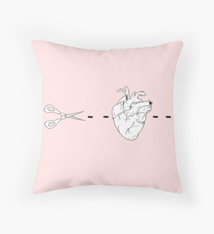 Heart and Scissors outline aesthetic Throw Pillow