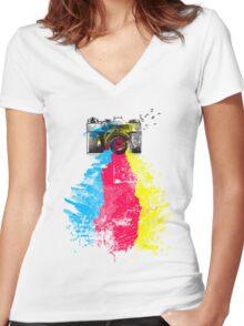CMYK shots Women's Fitted V-Neck T-Shirt