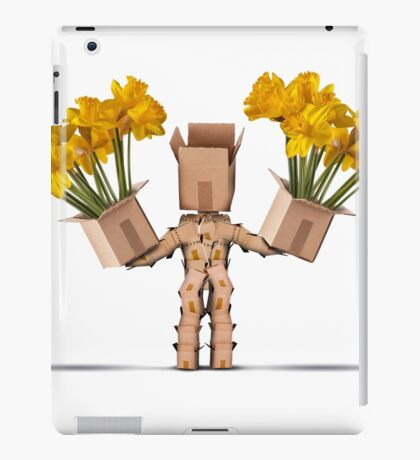 Boxman character holding two boxes of flower iPad Case/Skin