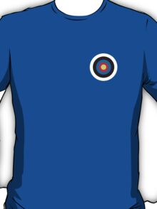 BULLS EYE, Right on target, small, on Blue T-Shirt