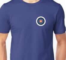 BULLS EYE, SMALL, Target, Archery, Right on target, on Blue Unisex T-Shirt